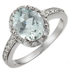 2.15 CTW Aquamarine & Diamond Ring 14K White Gold - REF-46X4R - 10839