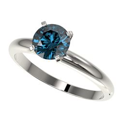1.29 CTW Certified Intense Blue SI Diamond Solitaire Engagement Ring 10K White Gold - REF-179R3K - 3