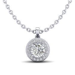 1 CTW VS/SI Diamond Solitaire Art Deco Stud Necklace 18K White Gold - REF-180Y2X - 36965
