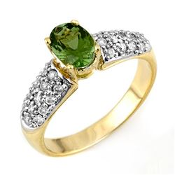 1.50 CTW Green Tourmaline & Diamond Ring 10K Yellow Gold - REF-52A7V - 11043