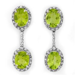 8.10 CTW Peridot & Diamond Earrings 14K White Gold - REF-80N5A - 10312
