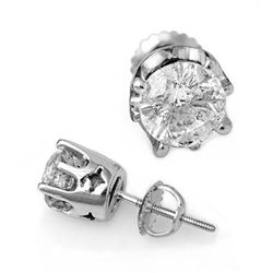 2.0 CTW Certified VS/SI Diamond Solitaire Stud Earrings 18K White Gold - REF-489A3V - 11163