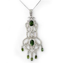 7.65 CTW Green Tourmaline & Diamond Necklace 18K White Gold - REF-289W3H - 11174