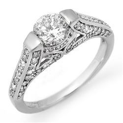 1.42 CTW Certified VS/SI Diamond Ring 18K White Gold - REF-198R7K - 11256
