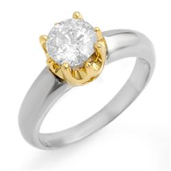 1.0 CTW Certified VS/SI Diamond Solitaire Ring 14K 2-Tone Gold - REF-291H3M - 11135