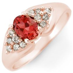 0.90 CTW Pink Tourmaline & Diamond Ring 14K Rose Gold - REF-45H5M - 10810