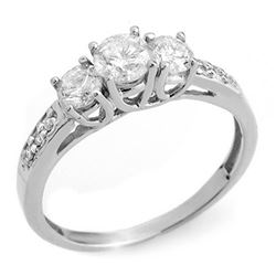 1.0 CTW Certified VS/SI Diamond Ring 14K White Gold - REF-87M5F - 10197