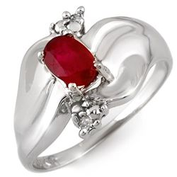 0.79 CTW Ruby & Diamond Ring 18K White Gold - REF-48X2R - 11060