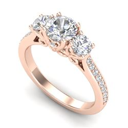 1.67 CTW VS/SI Diamond Solitaire Art Deco 3 Stone Ring 18K Rose Gold - REF-281H8M - 37029