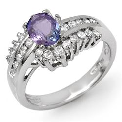 1.50 CTW Tanzanite & Diamond Ring 18K White Gold - REF-90W9H - 11887