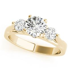 1.25 CTW Certified VS/SI Diamond 3 Stone Ring 18K Yellow Gold - REF-239R3K - 28001