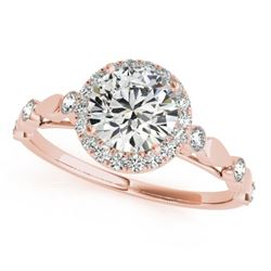 1 CTW Certified VS/SI Diamond Solitaire Halo Ring 18K Rose Gold - REF-185F5N - 26411