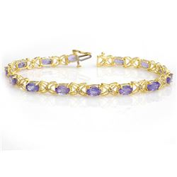 8.65 CTW Tanzanite & Diamond Bracelet 14K Yellow Gold - REF-118M2F - 13906