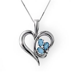 0.87 CTW Blue Topaz & Diamond Pendant 18K White Gold - REF-44R5K - 12783