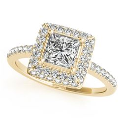 0.85 CTW Certified VS/SI Princess Diamond Solitaire Halo Ring 18K Yellow Gold - REF-136N4A - 27140