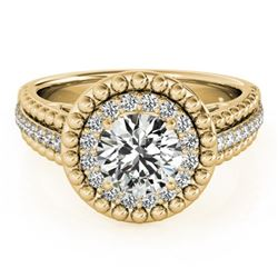 1.15 CTW Certified VS/SI Diamond Solitaire Halo Ring 18K Yellow Gold - REF-217M3F - 26571
