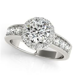 1.60 CTW Certified VS/SI Diamond Solitaire Halo Ring 18K White Gold - REF-250H9M - 27060