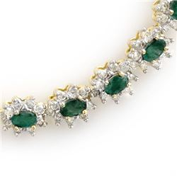 22.0 CTW Emerald & Diamond Necklace 14K Yellow Gold - REF-771M8F - 13987