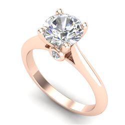 1.60 CTW VS/SI Diamond Art Deco Ring 18K Rose Gold - REF-555A2V - 37293