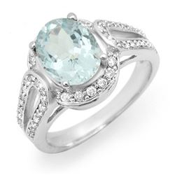 2.50 CTW Aquamarine & Diamond Ring 14K White Gold - REF-86N9A - 14539