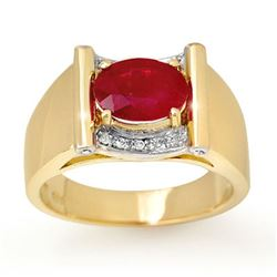 2.33 CTW Ruby & Diamond Men's Ring 10K Yellow Gold - REF-47N6A - 13492