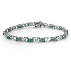 6.85 CTW Emerald & Diamond Bracelet 14K White Gold - REF-72V9Y - 13892