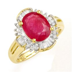 3.83 CTW Ruby & Diamond Ring 14K Yellow Gold - REF-82A5V - 13307