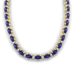 46.5 CTW Tanzanite & VS/SI Certified Diamond Eternity Necklace 10K Yellow Gold - REF-439W5H - 29437