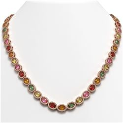 31.96 CTW Multi Color Sapphire & Diamond Necklace 10K Rose Gold - REF-674F4N - 40449
