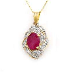 3.87 CTW Ruby & Diamond Pendant 14K Yellow Gold - REF-85H5M - 14361