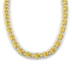 46.5 CTW Citrine & VS/SI Certified Diamond Eternity Necklace 10K Yellow Gold - REF-226V2Y - 29421