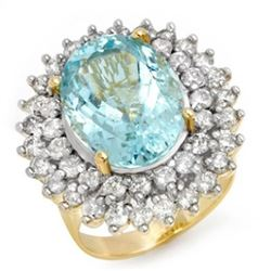 10.50 CTW Aquamarine & Diamond Ring 14K Yellow Gold - REF-272Y4X - 14382