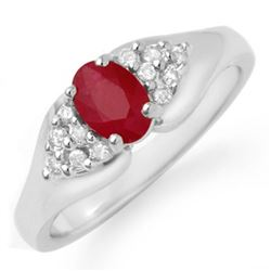 0.83 CTW Ruby & Diamond Ring 18K White Gold - REF-44K7W - 12922