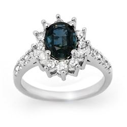 3.15 CTW Blue Sapphire & Diamond Ring 14K White Gold - REF-71R8K - 14193
