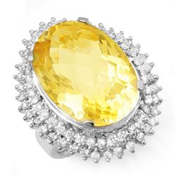 37.75 CTW Citrine & Diamond Ring 18K White Gold - REF-277R5K - 13032