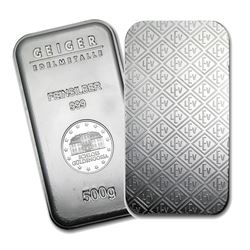 One piece 500 gram 0.999 Fine Silver Bar Geiger Security Line Series-74693