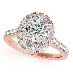 1.70 CTW Certified VS/SI Diamond Solitaire Halo Ring 18K Rose Gold - REF-247X3R - 26797