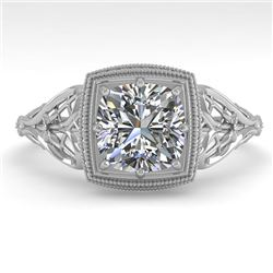 1.0 CTW Certified VS/SI Cushion Diamond Engagement Ring Deco 18K White Gold - REF-344N4A - 36045