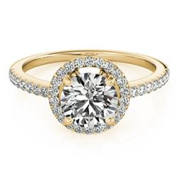 0.90 CTW Certified VS/SI Diamond Solitaire Halo Ring 18K Yellow Gold - REF-132V4Y - 26813