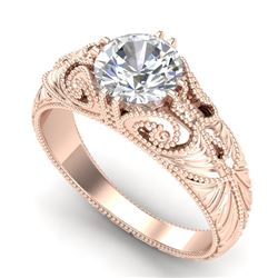 1 CTW VS/SI Diamond Solitaire Art Deco Ring 18K Rose Gold - REF-315Y2X - 36909