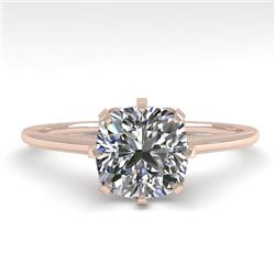1.0 CTW Certified VS/SI Cushion Diamond Engagement Ring 18K Rose Gold - REF-317X3R - 35753
