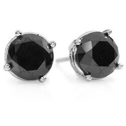 3.0 CTW VS Certified Black Diamond Solitaire Stud Earrings 14K White Gold - REF-75F6N - 14153