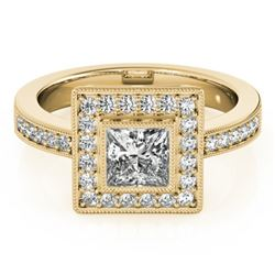 1.11 CTW Certified VS/SI Princess Diamond Solitaire Halo Ring 18K Yellow Gold - REF-209K3W - 27191