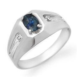 0.68 CTW Blue Sapphire & Diamond Men's Ring 18K White Gold - REF-52V4Y - 13162