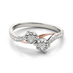 0.85 CTW Certified VS/SI Diamond 2 Stone Ring 18K White & Rose Gold - REF-114X5R - 28196