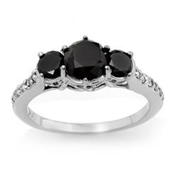 1.95 CTW VS Certified Black & White Diamond Ring 14K White Gold - REF-63K8W - 14062