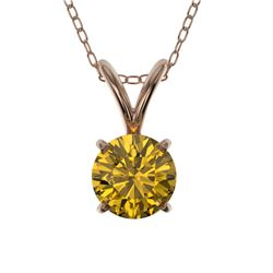0.53 CTW Certified Intense Yellow SI Diamond Solitaire Necklace 10K Rose Gold - REF-70R5K - 36733