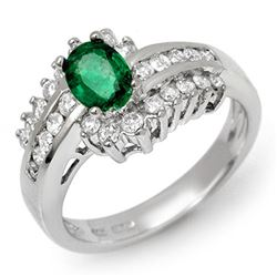 1.45 CTW Emerald & Diamond Ring 14K White Gold - REF-71M6F - 11888