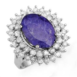 8.78 CTW Tanzanite & Diamond Ring 18K White Gold - REF-401W5H - 13387