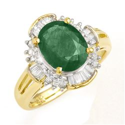 3.08 CTW Emerald & Diamond Ring 14K Yellow Gold - REF-78F9N - 13254